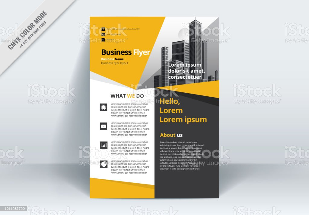 Brochure Flyer Template Layout Background Design. booklet, leaflet, corporate business annual report layout with yellow, gray and white background template a4 size - Vector illustration. - illustrazione arte vettoriale