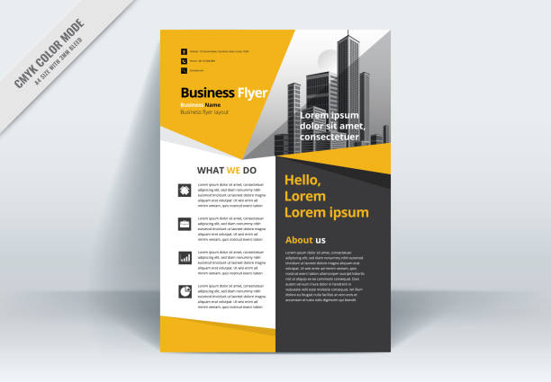 brochure flyer template layout background design. booklet, leaflet, corporate business annual report layout with yellow, gray and white background template a4 size - vector illustration. - flyers templates stock illustrations