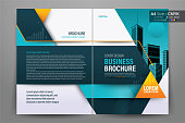 Brochure Flyer Template Layout Background Design. booklet, leaflet, corporate business annual report layout with orange, blue, teal geometric and white background template a4 size - Vector illustration.
