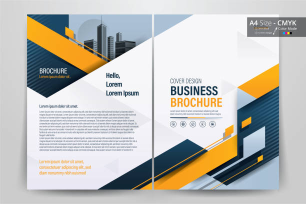 brochure flyer template layout background design. booklet, leaflet, corporate business annual report layout with white, orange and blue geometric background template a4 size - vector illustration. - brochure templates stock illustrations