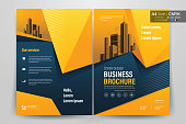 Brochure Flyer Template Layout Background Design. booklet, leaflet, corporate business annual report layout with orange and blue geometric background template a4 size - Vector illustration.