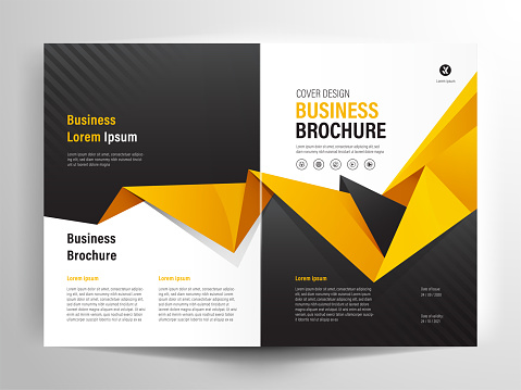 Brochure Flyer Template Layout Background Design. booklet, leaflet, corporate business annual report layout with white,  gray and orange polygon background template a4 size - Vector illustration.