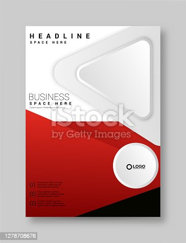 istock Brochure Flyer Template Layout Background Design. booklet, leaflet, corporate business annual report layout with white, gray and red ribbon background template 1278708676