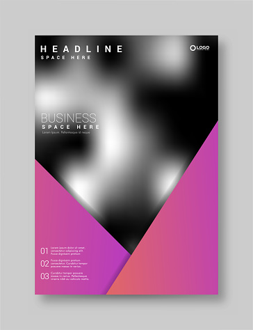 Brochure Flyer Template Layout Background Design. booklet, leaflet, corporate business annual report layout with purple triangle on a white background