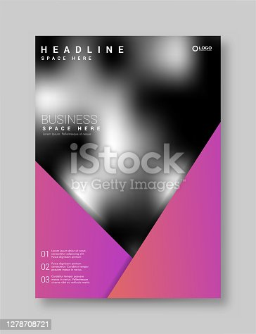 istock Brochure Flyer Template Layout Background Design. booklet, leaflet, corporate business annual report layout with purple triangle on a white background 1278708721
