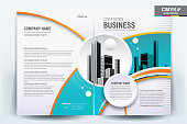 Brochure Flyer Template Layout Background Design. booklet, leaflet, corporate business annual report layout with turquoise blue and orange circle on a white background template a4 size