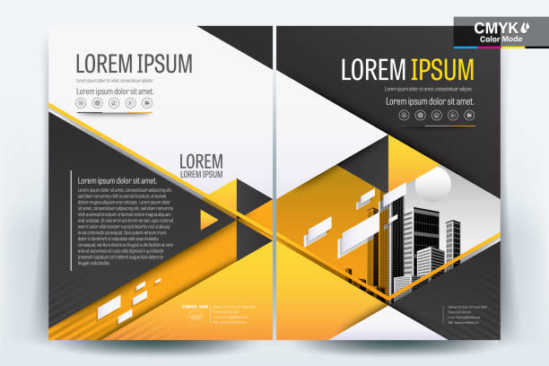 Brochure Flyer Template Layout Background Design. booklet, leaflet, corporate business annual report layout with black gray and yellow geometric on a white background template a4 size - Vector illustration. vector art illustration