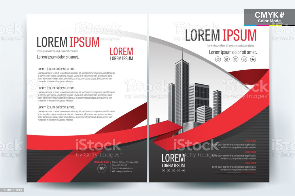 Brochure Flyer Template Layout Background Design. booklet, leaflet, corporate business annual report layout with black gray and red ribbon on a white background template a4 size - Vector illustration.