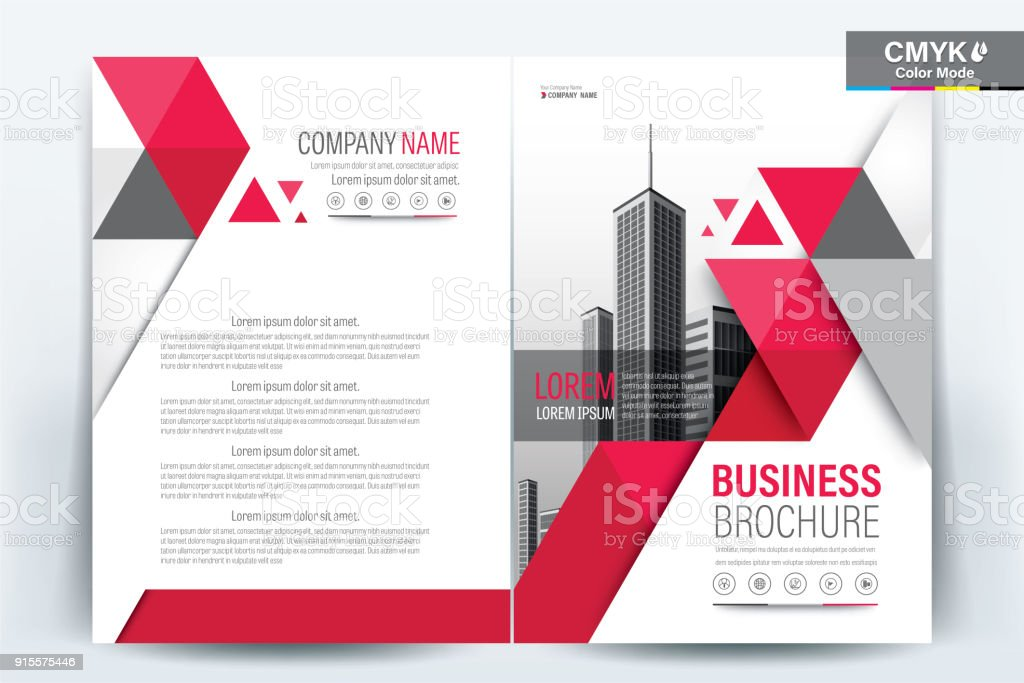 Brochure Flyer Template Layout Background Design. booklet, leaflet, corporate business annual report layout with red triangle on a white background template a4 size - Vector illustration. vector art illustration