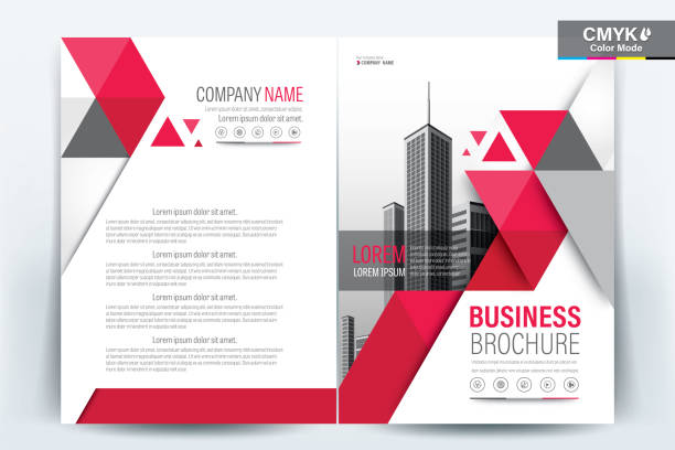 brochure flyer template layout background design. booklet, leaflet, corporate business annual report layout with red triangle on a white background template a4 size - vector illustration. - szkic rysunek stock illustrations