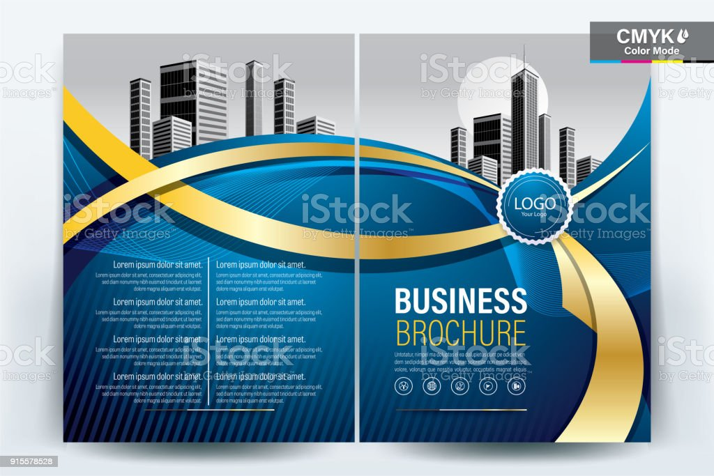 Brochure Flyer Template Layout Background Design. booklet, leaflet, corporate business annual report layout with gold ribbon on a blue background template a4 size - Vector illustration. vector art illustration