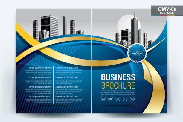 Brochure Flyer Template Layout Design de fond. brochure, dépliant, présentation du rapport annuel d'entreprise avec le ruban d'or sur un format a4 modèle de fond bleu - illustration vectorielle. - Illustration vectorielle