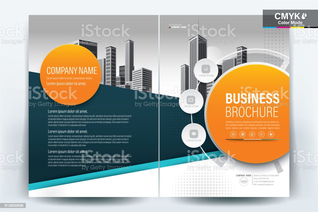 Brochure Flyer Template Layout Background Design. booklet, leaflet, corporate business annual report layout with teal, turquoise blue and orange geometric on a white background template a4 size - Vector illustration. vector art illustration