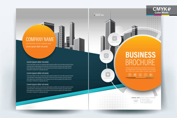 brochure flyer template layout background design. booklet, leaflet, corporate business annual report layout with teal, turquoise blue and orange geometric on a white background template a4 size - vector illustration. - katalog stock illustrations