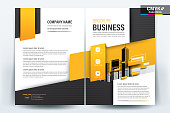 Brochure Flyer Template Layout Background Design. booklet, leaflet, corporate business annual report layout with black gray and yellow geometric on a white background template a4 size - Vector illustration.