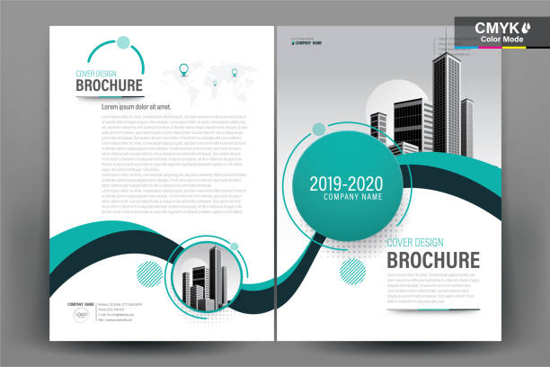 brochure flyer template layout background design. booklet, leaflet, corporate business annual report layout with teal and green curve on a white background template a4 size - vector illustration. - blue drawings stock illustrations
