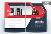 Brochure Flyer Template Layout Background Design. booklet, leaflet, corporate business annual report layout with black gray and red geometric on a white background template a4 size - Vector illustration.