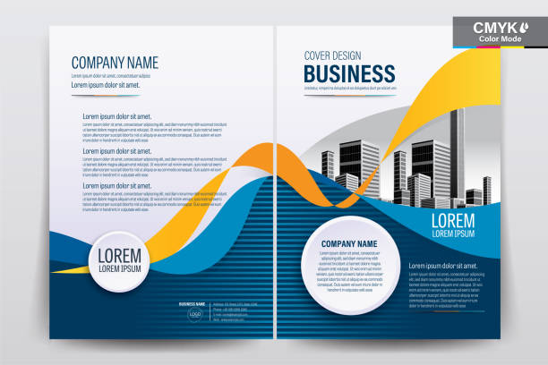 Brochure Flyer Template Layout Background Design. booklet, leaflet, corporate business annual report layout with white, blue and yellow curve background template a4 size - Vector illustration Brochure Flyer Template Layout Background Design. booklet, leaflet, corporate business annual report layout with white, blue and yellow curve background template a4 size - Vector illustration blue drawings stock illustrations