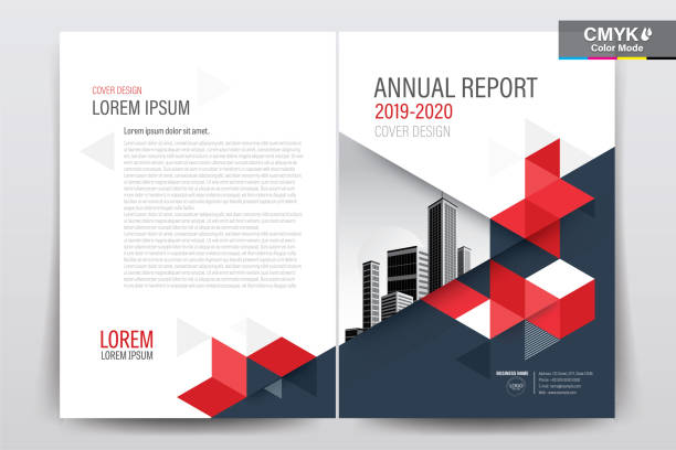 brochure flyer template layout background design. booklet, leaflet, corporate business annual report layout with white  and red geometric background template a4 size - vector illustration. - annual reports templates stock illustrations