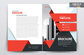 Brochure Flyer Template Layout Background Design. booklet, leaflet, corporate business annual report layout with white and red geometric background template a4 size - Vector illustration.