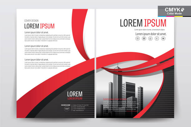 brochure flyer template layout background design. booklet, leaflet, corporate business annual report layout with white, gray and red ribbon background template a4 size - vector illustration. - графический рисунок stock illustrations