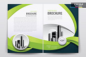 Brochure Flyer Template Layout Background Design. booklet, leaflet, corporate business annual report layout with white and green curve background template a4 size - Vector illustration.