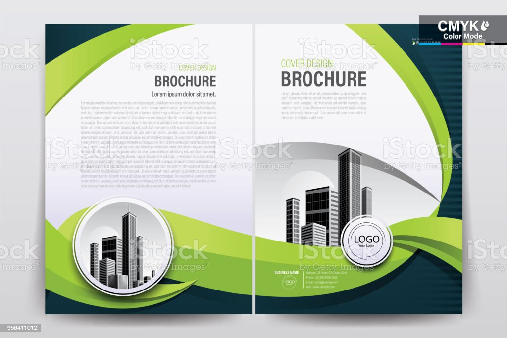 Brochure Flyer Template Layout Background Design. booklet, leaflet, corporate business annual report layout with white  and green curve background template a4 size - Vector illustration. - illustrazione arte vettoriale