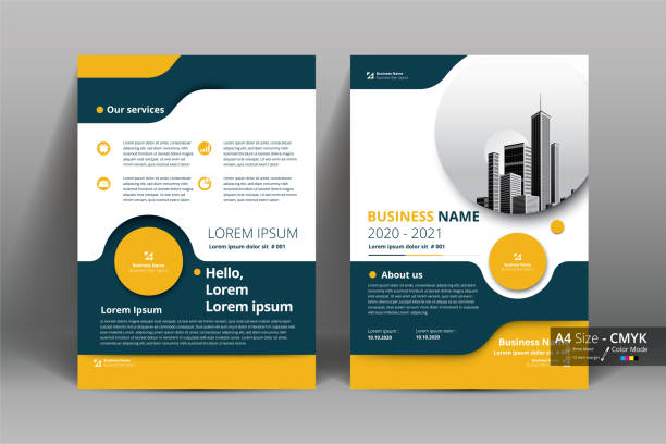 Brochure Flyer Template Layout Background Design. booklet, leaflet, corporate business annual report layout with white, gray and yellow circle background template a4 size - Vector illustration. Brochure Flyer Template Layout Background Design. booklet, leaflet, corporate business annual report layout with white, gray and yellow circle background template a4 size - Vector illustration. flyers templates stock illustrations