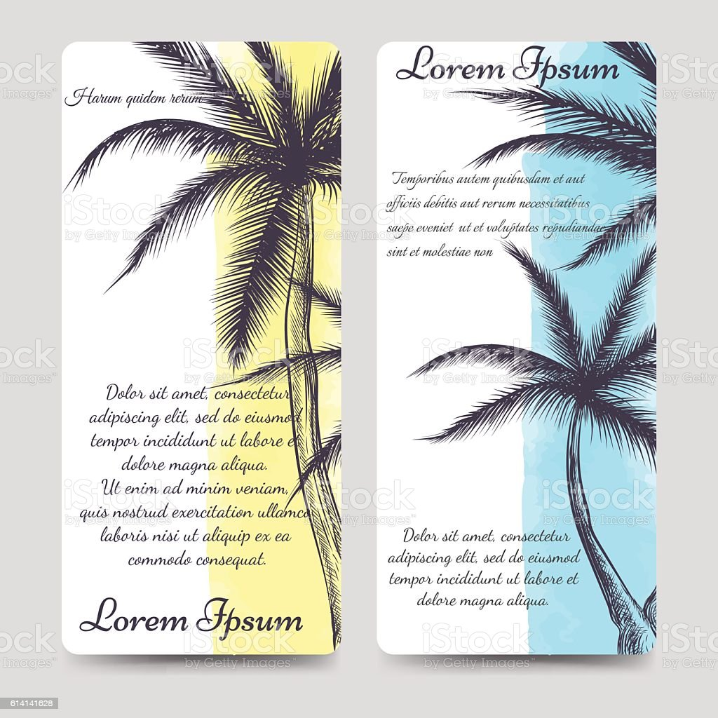 Brochure Flyers Template With Palm Tree Stock Vektor Art Und Mehr