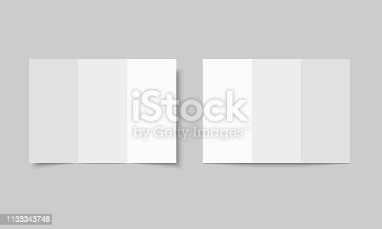Mock up of booklet isolated. Open notebook, magazine, brochure, book. Vector template on white background.