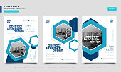 Brochure geometric hexagon layout design template set, Annual report, Leaflet, Advertising, poster, Magazine, Business for background, Empty copy space