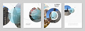A4 brochure layout of covers design templates for flyer leaflet, A4 brochure, report, magazine cover, book design with abstract circle banners. Social media web banner. Social network photo frame