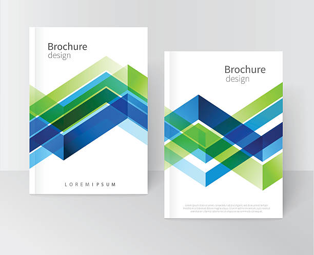 brochure, leaflet, flyer, cover template - blue drawings stock illustrations