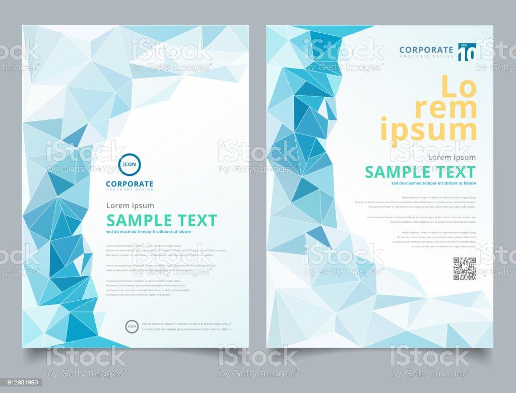 Broschüre Leichte Blaue Polygonalen Mosaik Hintergrund Layout ...