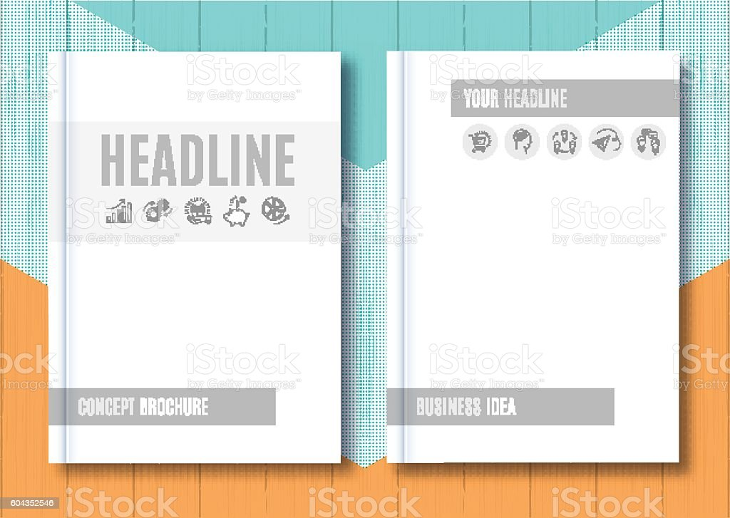 brochure mockup blank magazine cover template notebook vector