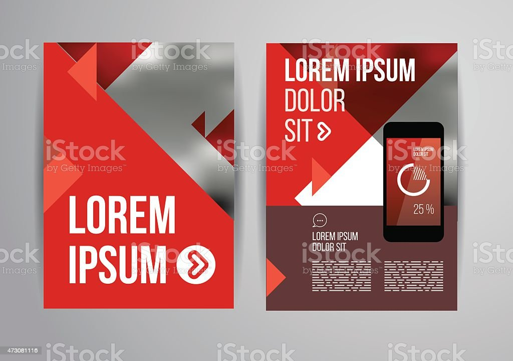 Brochure Or Flyer Template In Red White And Gray Stock Vector Art