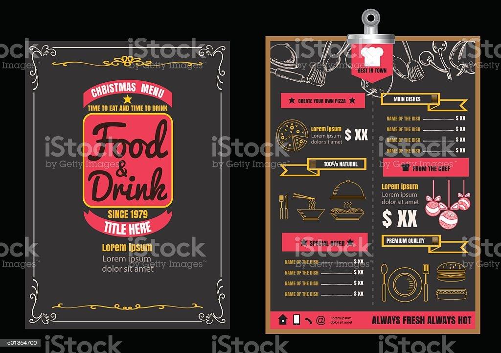 Christmas Restaurant Poster.Brochure Or Poster Restaurant Food Christmas Menu With Chalkboard