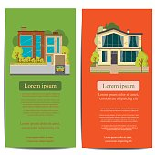 Brochure template design. Concept of architecture real estate banner design. Vector illustration real estate banner. Building architecture brochure presentation. Presentation town apartment flyer.