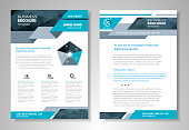 Front and back page brochure flyer design with business icons and infographic elements. EPS10. Contains transparent objects