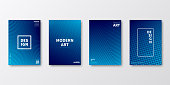 Set of four vertical brochure templates with abstract and geometric backgrounds. Modern and trendy background with color gradients (colors used: Blue, Black). Can be used for different designs, such as brochure, cover design, magazine, business annual report, flyer, leaflet, presentations... Template for your design, with space for your text. The layers are named to facilitate your customization. Vector Illustration (EPS10, well layered and grouped). Easy to edit, manipulate, resize or colorize.
