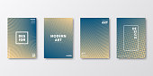 Set of four vertical brochure templates with abstract and geometric backgrounds. Modern and trendy background with color gradients (colors used: Orange, Beige, Yellow, Gray, Green, Blue). Can be used for different designs, such as brochure, cover design, magazine, business annual report, flyer, leaflet, presentations... Template for your design, with space for your text. The layers are named to facilitate your customization. Vector Illustration (EPS10, well layered and grouped). Easy to edit, manipulate, resize or colorize.