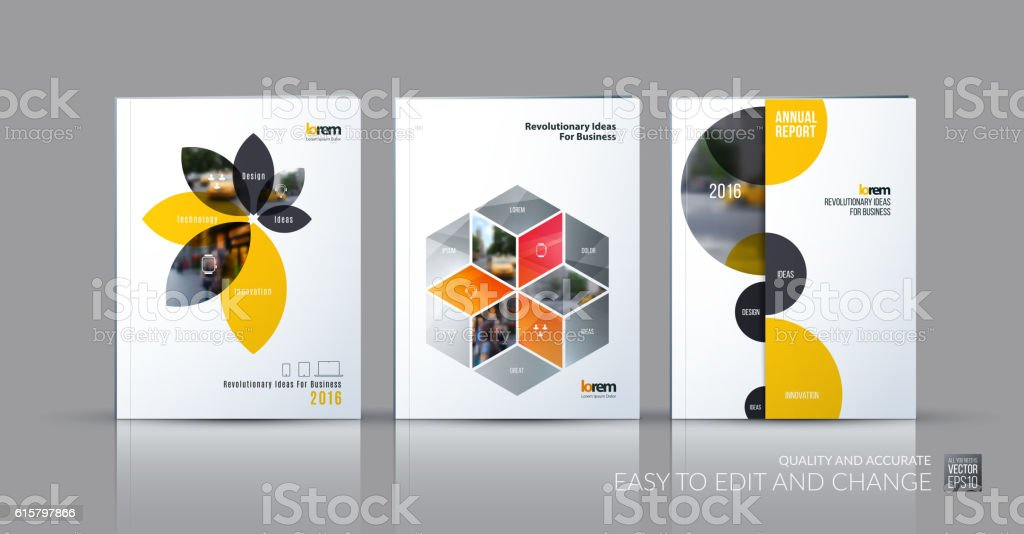 Brochure Template Layout Collection Cover Design Annual Report Stock