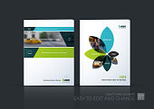 Brochure template layout collection, cover design annual report, magazine, flyer in A4  with green banners and flowers for business, building, consulting. Abstract vector design set.