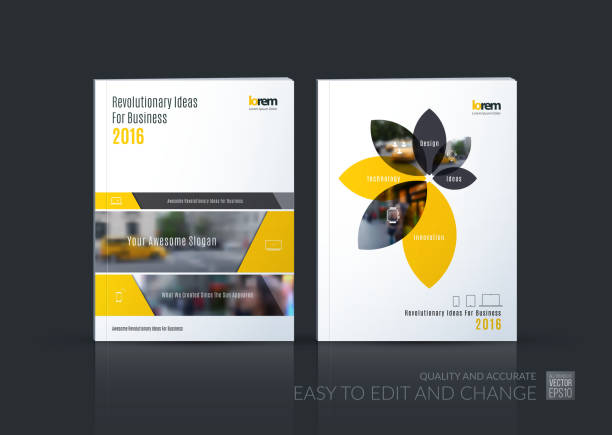 Brochure template layout collection, cover design annual report, vector art illustration