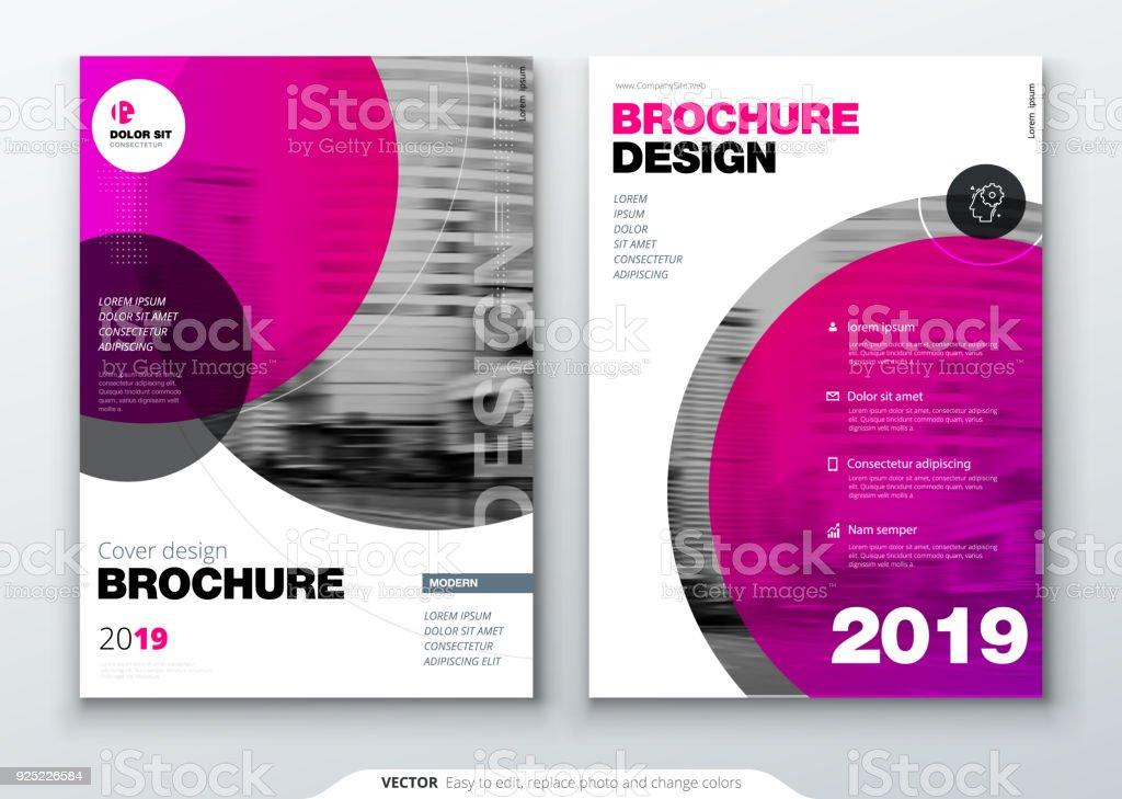 Modelo de layout de folheto, relatório anual de design de capa, revista, folheto ou livreto em A4 com formas de círculo de cor em estilo suíço ou magna. Ilustração em vetor. - ilustração de arte em vetor