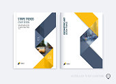 Brochure template layout, cover design annual report, magazine, flyer or booklet in A4 with yellow grey dynamic triangular geometric shapes and folding stripe ribbon. Business vector Illustration.