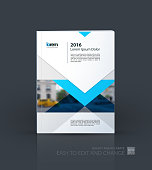 Brochure template layout, cover design annual report, magazine, flyer or leaflet in A4 with blue arrows, triangles with overlap effect for business with industrial and modern concept. Vector.