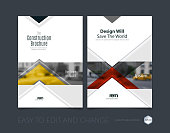 Brochure template layout, cover design annual report, magazine, flyer or leaflet in A4 with red arrows, triangles with overlap effect for business with industrial and modern concept. Vector set.