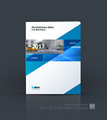 Brochure template layout, cover design annual report, magazine, flyer, leaflet in A4 with blue rectangle and diagonal strip with overlap effect for business and science. Vector.