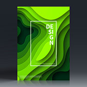 Vertical brochure template with an modern and trendy background (Abstract design with wave shapes in a paper cut style - green). Can be used for different designs, such as brochure, cover design, magazine, business annual report, flyer, leaflet, presentations... Template for your design. With space for your text and your background. The layers are named to facilitate your customization. Vector Illustration (EPS10, well layered and grouped). Easy to edit, manipulate, resize or colorize. Please do not hesitate to contact me if you have any questions, or need to customise the illustration. http://www.istockphoto.com/portfolio/bgblue